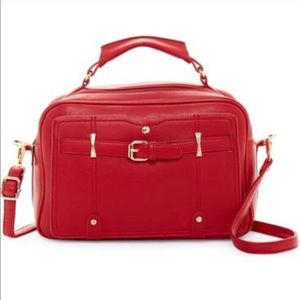 Red Boxy Satchel with detachable shoulder strap